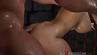 Hot sex back the dungeon! Cute virgin gets fucked hard hard by a big beast