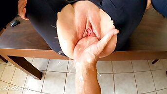 Fisting coupled with squirting, destroying pussy for my stepdaddy!!!