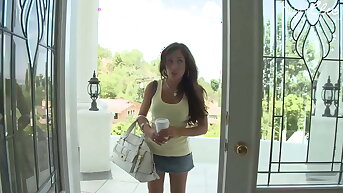Shadowy teen slut with fake tits is doing an audition