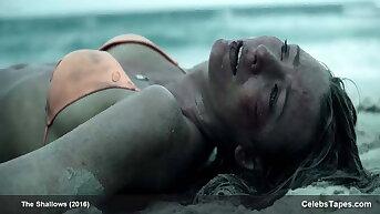 Blake Lively hot in bikini added to nice cleavage, Blake vs shark