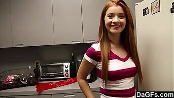 Horny redhead teen astounded with sex there kitchen