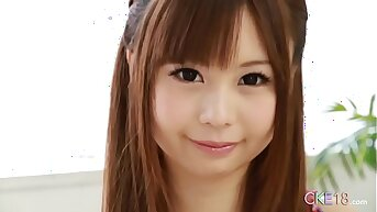 Perfect Japanese teen solo misapply tease and dildo play