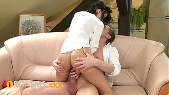 ORGASMS Perfect ass tight body and wet pussy rocked by his big fixed cock