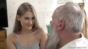 Teen beauty vs venerable grandpa - Tiffany Tatum and Albert