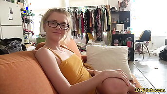 DTFsluts - RILEY Stardom GEEKY Peaches PETITE TEEN GETS FUCKED FROM BEHIND ON HER COUCH