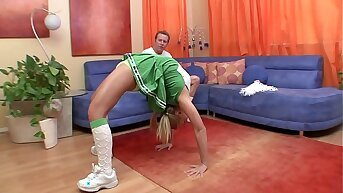 Cute young cheerleader Fellow Kay with perky tits gets fucked in the shaved cunt