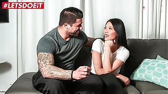 LETSDOEIT - Hot Brunette Teen Fucked Yon Top On The Casting Couch