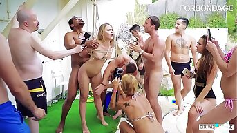 FORBONDAGE - Hot Russian Teen Selvaggia Takes Black Cock On Hot BDSM Sex Sport Outdoor