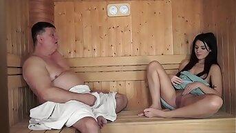 Old man fucks Young girl at Sauna