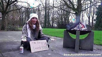 Homeless Girl Begging for Old Cock
