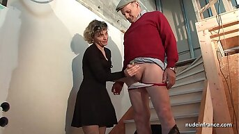 Horny french mom enduring anal pounded and facial jizzed prevalent 3some with Papy Voyeur