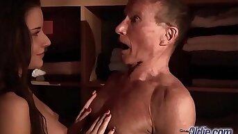 Teen Fucked Old man weasel words seduced him swallowed his juicy cum hardcore