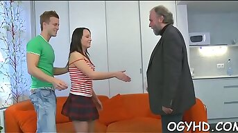 Young hottie licks and rides aged rod